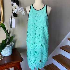 Bar 3 Green Stretch Lace Sleevless Dress Small